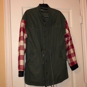 Urban Outfitters Utility Jacket Flannel Sleeves